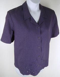 Alfred Dunner Purple Embroidered Beaded Shirt New Size 18 Floral Blouse Top Alfred Dunner, Floral Blouse, Career, Men Casual, Blouses, Button, Purple, Sleeve, Mens Tops