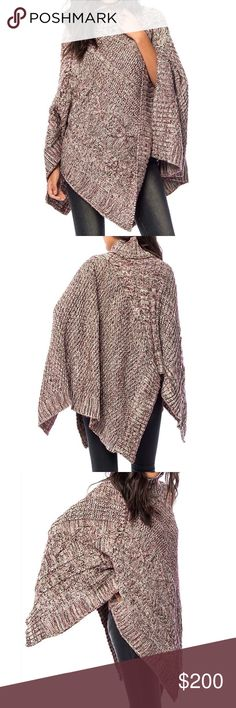 SWEATER CAPE Oversized Slouchy Pullover Layering One Size.  Brand New.  • Incredibly comfortable, this medium weight mixed yarn sweater cape is perfect for dressing up or down. • Oversized, loose fitting silhouette with ribbed open knit eyelet stitching. • Cable paneling, high-low hemline, purple, ivory & blue. • Fitted neckline, no armholes. • Measurements provided in comment(s) section below.    {Southern Girl Fashion - Boutique Policy}   ✔️ Same-Business-Day Shipping (10am CT). ✔️ Price…