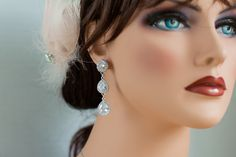 Long dangle drop bridal earrings