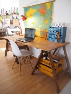 Funky Vintage Industrial Wooden Trestle Table - Desk / Kitchen / Outdoor Table