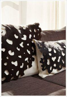 PETA-LEE original | Felt cushions Felt Cushion, Felt Pillow, Pillow Room, Pillow Shams, Sheepskin Throw, Felt House, Handmade Cushions, Felt Decorations, Wool Pillows