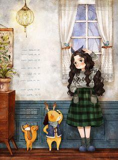 Aeppol Illustration growing taller up measure Cute Cartoon, Cartoon Art, Forest Girl, Girl And Dog, Illustration Girl, Illustrations And Posters, Whimsical Art, Anime Art Girl, Manga Art