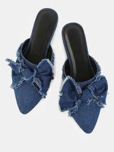 Pointy Toe Distressed Denim Flats BLUE DENIM Μοντέρνα Παπούτσια 6e8a2fe3eea