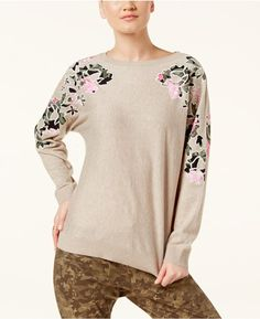 INC International Concepts Petite Dolman-Sleeve Applique Sweater, Created for Macy's