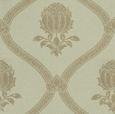 Granada - Morris Wallpapers - An elegant large scale ogee trellis design with a beautiful pomegranate motif. Gravure printed, it is available in 4 colours. Shown here in the eggshell green and gold. Please ask for a sample for a true colour match. Feature Wallpaper, Gold Wallpaper, Paper Wallpaper, Wallpaper Ideas, True Colors, Colours, V Collection, Morris Wallpapers, Trellis Design