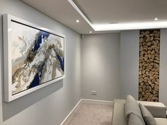 Kevin Burton Original Abstract Painting - Blue, Grey, Silver - Client Interior Shot