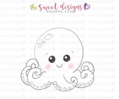 Chubby Octopus - Cutter – The Sweet Designs Shoppe Kawaii Drawings, Easy Drawings, Felt Crafts, Paper Crafts, Octopus Drawing, Felt Patterns, Easy Halloween, Painting For Kids, Colouring Pages