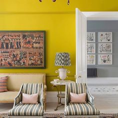 We all need to wake up in a more cheerful and happy way. Maybe we take the time to paint a room in your happiest color! Life's too short not to! Color=happiness! 💛💛💛 Project By: @eickerdesign 📸: @james_mcdonald_photography #thevibrantinterior #andreaschumacherinteriordesigner #denverinteriordesigner #santabarbarainteriordesigner #palmbeachinteriordesigner Chalet Design, House Design, Arts And Crafts House, Beautiful Hotels, Room Paint, Home And Family, Home And Garden, Interior Design, Country