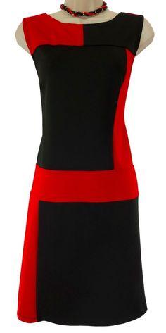 14 LARGE SEXY Womens Red/Black COLORBLOCK SCUBA DRESS Spring Summer Day/Evening #EnFocusStudio #Sheath #Versatile