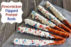 4th of July Dessert – Patriotic Firecracker Dipped Pretzel Rods