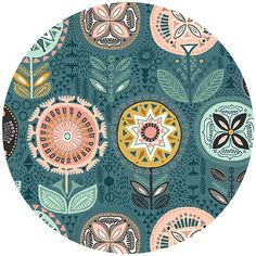 Shop our selection of modern fabric by the yard, indie sewing patterns, thread, and wallpaper. Andover Fabrics, Turquoise Flowers, Illustrations, Modern Fabric, Surface Pattern Design, Couture, Pattern Wallpaper, Just In Case, Fabric Design