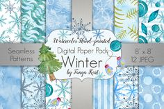 Winter Watercolor Digital Paper Pack by Tanya Kart on @creativemarket