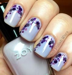 pastel purple matte finish with royal purple sparkles over it.  LOVE this whole idea, it's absolutely adorable!  My Mom loves purple, she'd absolutely LOVE these nails! :) <3