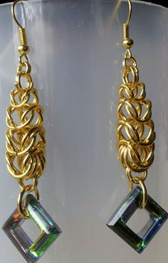 Gold Chain Mail Earrings with Celestial Crystal Component