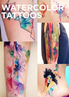 Watercolor tattoos blew everyone's minds with all their brilliant, dripping glory. See more here.Origami cranes | colorful peace sign | dripping arm tattoo | girl and bird | fox | watercolor forearm