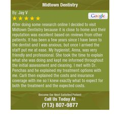 After doing some research online I decided to visit Midtown Dentistry because it is close...