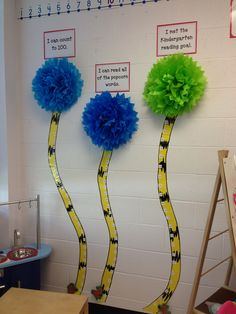Data tracking with a Dr. Seuss twist! When a student achieves a goal, they move the barbaloot to the next # on the truffula tree. When the barbaloot is at the top, we know everyone has reached the goal!