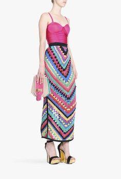Handmade suede crocheted maxi skirt   Women's leather skirts   Balmain