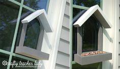 DIY window bird feeder.  My cat would love this...