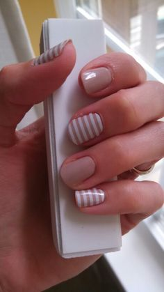 Barely There lacquer w/ white stripes #jamberry #jamicure http://nailzbejammin.jamberry.com