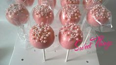 Princess pink cake pops sweetthingsbywendy.ca Pink Cake Pops, Sticks, Treats, Princess, Sweet, Desserts, Food, Sweet Like Candy, Candy