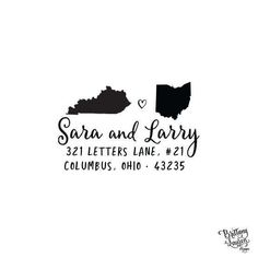 Paper & Party Supplies  Return Address  address stamp  housewarming gift  save the date  Destination weddings  self inking state pride  label address  state stamp  two state address  long distance  wedding state  couple states Personalized Custom Return Address Rubber Stamp Self Inking