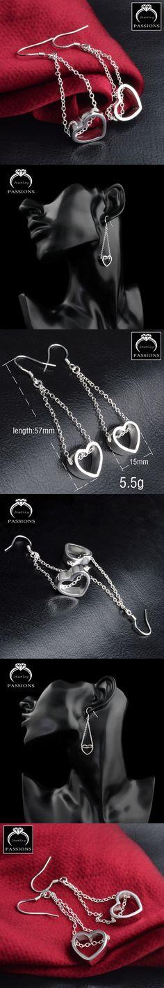 Hot Sale Charm Big Love Heart Pendant Earings 925 Sterling Silver Vintage Long Tassel Drop Earrings For Women Maxi Earrings Gift