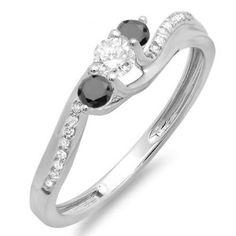 Thanks for Sharing!  0.50 Carat (ctw) 18k White Gold Round Black And White Diamond 3 Stone Ladies Swirl Bridal Engagement Ring 1/2 CT - Dazzling Rock #https://www.pinterest.com/dazzlingrock/
