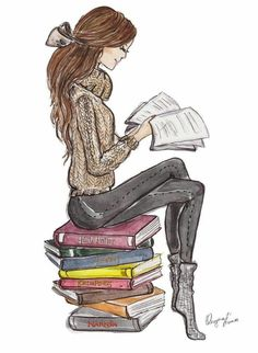 *✿**✿**✿**✿*✿** illustration of woman reading Girl Reading Book, Reading Art, Woman Reading, Stack Of Books, I Love Books, Good Books, Book Drawing, Drawing Girls, Drawing People