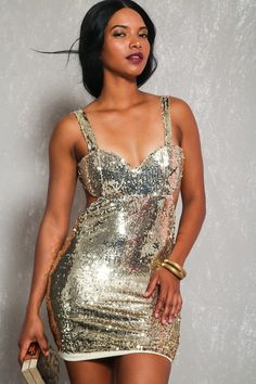 Sexy Gold Sequin Padded Sleeveless Open Back Party Dress. Dresses For ... aa25e2d3f1ab