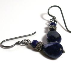 Lapis Lazuli Earrings  Nautical Jewelry  Sterling by vickiorion, $28.00