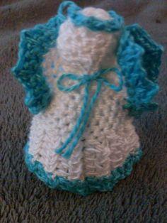 Crocheted Angel Ornament, White w/blue trim