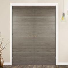 Laminate Santandor Light Grey Door Pair - Prefinished - Lifestyle Image. #greydoors #moderndoors #contemporarydoors