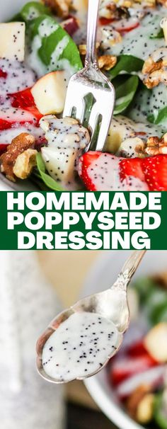This sweet creamy homemade poppyseed dressing only used a handful of ingredients and is super delicious! It's the perfect salad dressing! Fun Easy Recipes, Easy Appetizer Recipes, Vegetarian Recipes Easy, Yummy Appetizers, Dinner Recipes, Easy Meals, Delicious Recipes, Cooking Recipes, Amazing Recipes