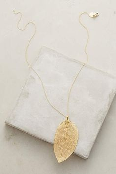 Golden Leaf Necklace - anthropologie.com