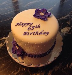 65th Birthday Cake with Purple Flowers - by Mari's Boutique Cakes