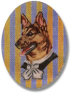"""Needlepoint Dog Canvas. An adorable German Shepherd in a small frame.  based on 19th century Victorian animal vignettes.  design: 3 1/2"""" w x 4 1/2"""" t  18 mesh $28.00"""
