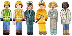 Career Paper Dolls - for girls and boys.  So many interesting careers to explore: UNICEF worker, firefighter, doctor, neurosurgeon, biologist, engineer, artist, musician, veterinarian, teacher, and so on.