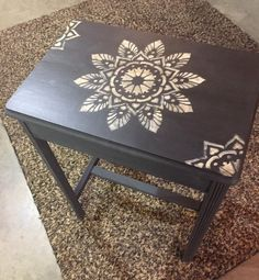 A small side table upcycle project using the Passion Mandala Stencil from Cutting Edge Stencils. This Mandala pattern comes in various sizes for all furniture makeovers. http://www.cuttingedgestencils.com/mandala-stencils.html
