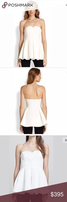 NWT $395 ELIZABETH AND JAMES White Jill Top Size 8 NWT $395 ELIZABETH AND JAMES C18 White Jill Strapless Top Size 8  The Elizabeth and James Jill top features an elongated peplum to give the style dress-line playfulness. Sateen. Strapless neckline with V'd cutout. Fitted bodice. Seamed waist; pleated, flared hem. Cotton/silk; polyester lining. Imported. Elizabeth and James Tops
