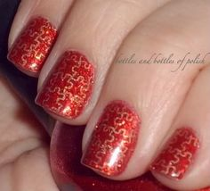 Puzzle Piece Nails ~ Bottles and Bottles of Polish
