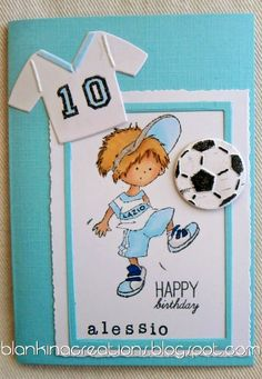 Lazio birthday card by Blankina with Don & Daisy stamp and collectable Marianne Design