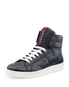 Avenue Distressed Hi-Top Sneaker, Navy by Prada at Bergdorf Goodman.