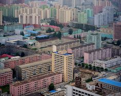 The eastern districts of the capital seen from the Juche Tower shows pastel colours is the...