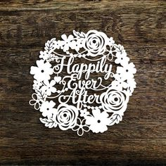 Papercut Template Floral Wreath Happily Ever After Wedding