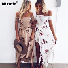 11.88$  Watch now - Boho Style Wrap Long Dress Women Off Shoulder Sexy Beachwear Floral Print Vintage Chiffon Maxi Dress 2017 Summer Vestidos Longo   #aliexpress