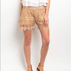Taupe longer length beautiful crochet shorts! Adorable neutral color crochet fully lined scalloped shorts with an elasticized waist! Shorts