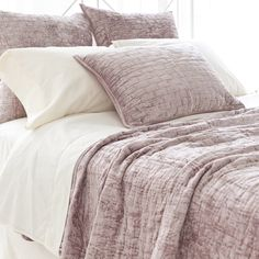 pch matte velvet dusty plum quilt  for master bedroom .. with dark wood bed