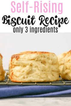 Homemade Biscuits From Scratch, Quick Biscuits, Homemade Biscuits Recipe, Buttermilk Biscuits, 3 Ingredient Biscuit Recipe, 3 Ingredient Recipes, Easy Biscuit Recipe 3 Ingredients, Quick Biscuit Recipe, Easy Biscuit Recipes