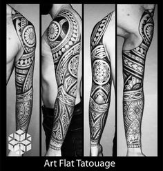 Tattoo bras samoan polynésien géométrique